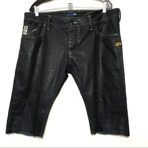 G Star Raw Men's Black Denim Shorts Size 38